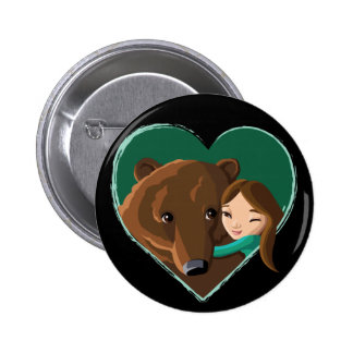 Girl Hugging Bear Button