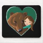 Girl Hugging Bear Mouse Pad