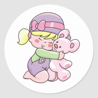 Girl Hugging Bear Tshirts and Gifts Classic Round Sticker