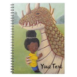 Girl Hugging Guardian Dragon in Mountain Lands Notebook