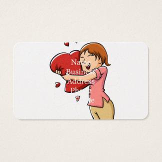 Girl hugging heart business card