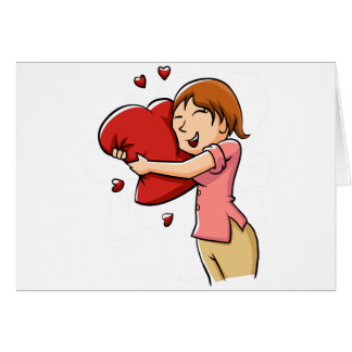 Girl hugging heart card