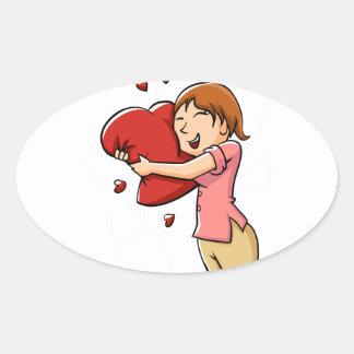 Girl hugging heart oval sticker