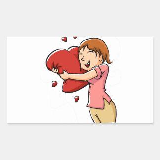 Girl hugging heart rectangular sticker