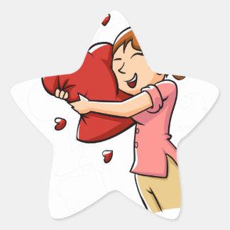 Girl hugging heart star sticker