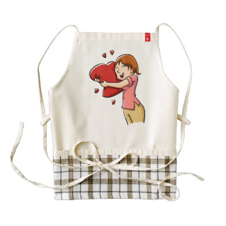 Girl hugging heart zazzle HEART apron
