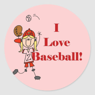 Girl I Love Baseball Tshirts and Gifts Classic Round Sticker