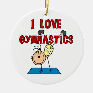 Girl I Love Gymnastics Double-Sided Ceramic Round Christmas Ornament