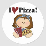 Girl I Love Pizza Tshirts and Gifts Round Sticker