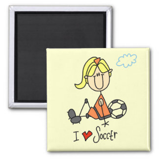 Girl I Love Soccer T-shirts and Gifts 2 Inch Square Magnet