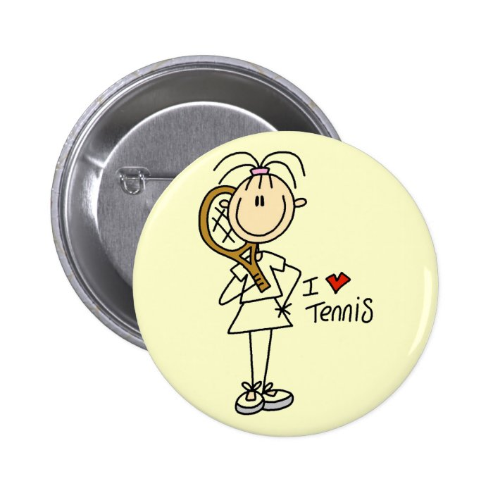 Girl I Love Tennis Tshirts and Gifts Button
