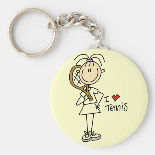 Girl I Love Tennis Tshirts and Gifts Basic Round Button Keychain