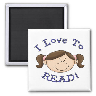 Girl I Love to Read Tshirts and Gifts 2 Inch Square Magnet