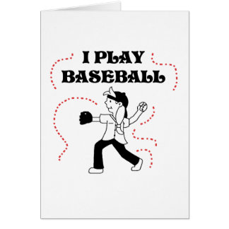 Girl I Play Baseball T shirts and Gifts Greeting Cards