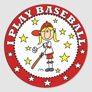 Girl I Play Baseball T shirts and Gifts Classic Round Sticker