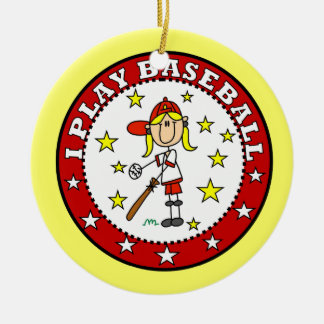 Girl I Play Baseball T shirts and Gifts Double-Sided Ceramic Round Christmas Ornament