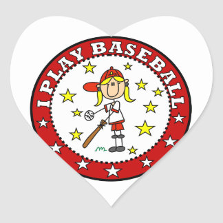 Girl I Play Baseball T shirts and Gifts Heart Sticker