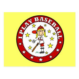 Girl I Play Baseball T shirts and Gifts Postcard