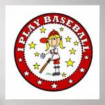 Girl I Play Baseball T shirts and Gifts Print