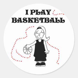 Girl I Play Basketball Classic Round Sticker