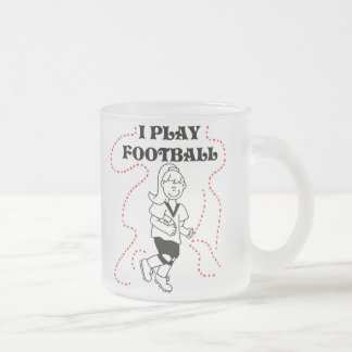 Girl I Play Football T-shirts and Gifts 10 Oz Frosted Glass Coffee Mug
