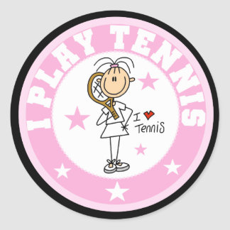 Girl I Play Tennis Tshirts and gifts Classic Round Sticker