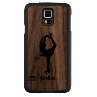 Girl Ice Skating Figure Skating Personalized Carved Walnut Galaxy S5 Case