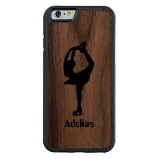 Girl Ice Skating Figure Skating Personalized Carved® Walnut iPhone 6 Bumper