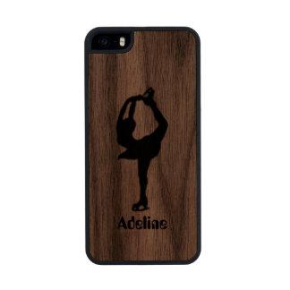 Girl Ice Skating Figure Skating Personalized Wood iPhone SE/5/5s Case