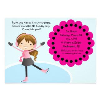 Girl Ice Skating Hot Pink Birthday Invitation