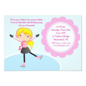 Girl Ice Skating Pink Birthday Invitation