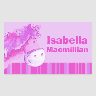 Girl id full name pink pony horse sticker
