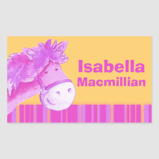 Girl id full name pink yellow pony horse sticker
