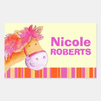 Girl id full name purple orange pony horse sticker