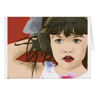 Girl illustration on red card