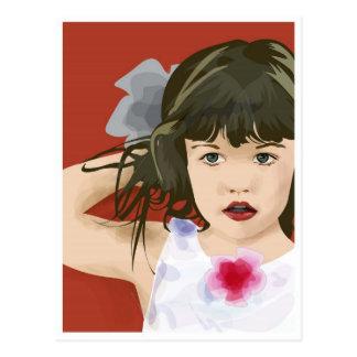 Girl illustration on red postcard