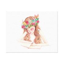 Girl imagination, writing canvas print