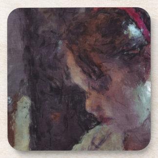 Girl - Impressionist Art by Johannes Krantz Beverage Coaster