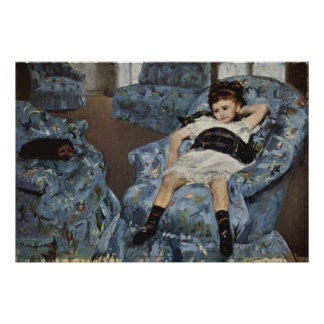 Girl in A Blue Chair, Mary Cassatt Posters