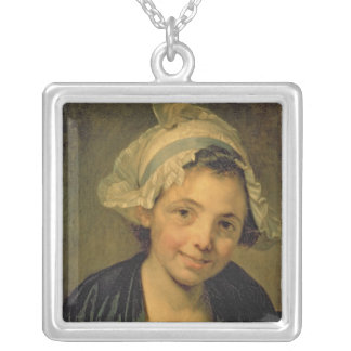 Girl in a Bonnet, 1760s Silver Plated Necklace