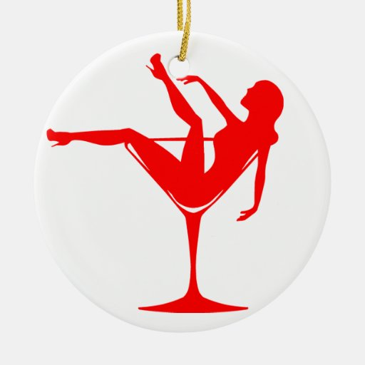 Girl in a Cocktail Glass Christmas Tree Ornaments
