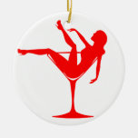 Girl in a Cocktail Glass Double-Sided Ceramic Round Christmas Ornament