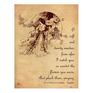 Girl in a Garden Postcard