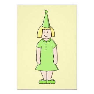 Girl in a Green Birthday Outfit. Card