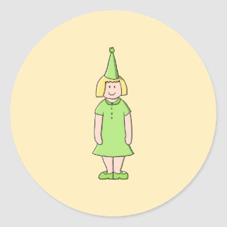 Girl in a Green Birthday Outfit. Classic Round Sticker