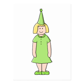 Girl in a Green Birthday Outfit. Postcard