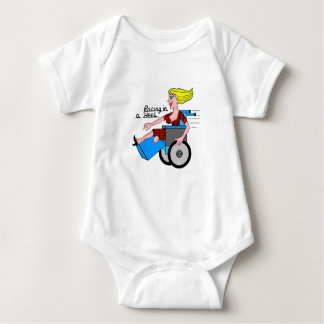 Girl in a Heel needs Wheels Amputee Baby Bodysuit