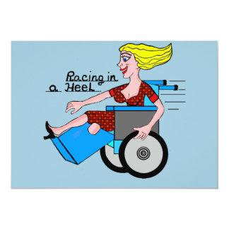 """Girl in a Heel needs Wheels Amputee 5"""" X 7"""" Invitation Card"""