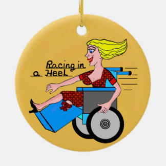 Girl in a Heel needs Wheels Amputee Double-Sided Ceramic Round Christmas Ornament