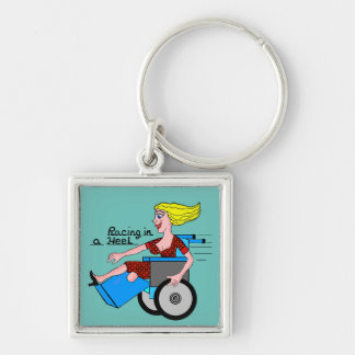Girl in a Heel needs Wheels Amputee Silver-Colored Square Keychain